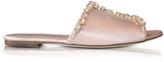 Oscar de la Renta Scarlette Nude Tonal Satin w/Crystals Slide Sandals