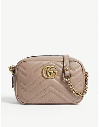 Gucci Women's Rose Pink Marmont Leather Cross-Body Bag
