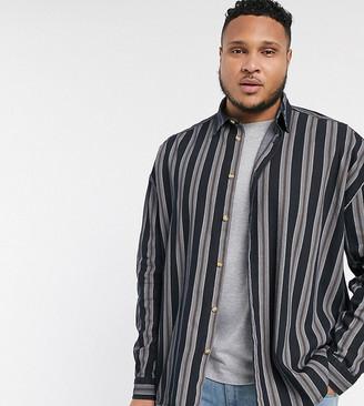 ASOS DESIGN Plus 90s oversized denim stripe shirt in black