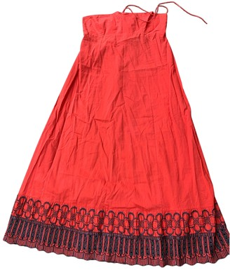 Antik Batik Red Cotton Dress for Women