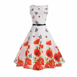 YFCH Girls/Women 1950s Vintage A-Line Print Rockabilly Cocktail Dress Retro Sleeveless Audrey Hepburn Dress