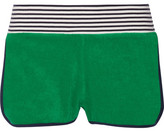 Tory Sport Striped Cotton-terry Shorts