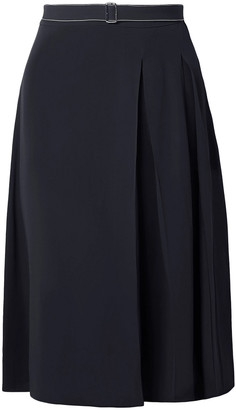Marni Belted Pleated Crepe Skirt
