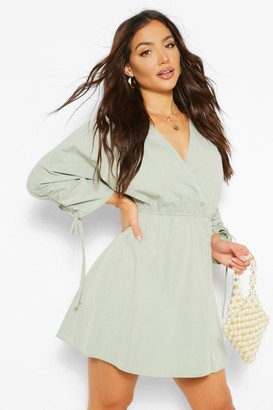 boohoo V Neck Wrap Rouched Sleeve Skater Dress