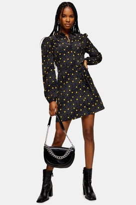 Topshop Womens Mustard Spot Mini Shirt Dress - Mustard