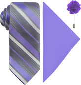 Jf J.Ferrar JF Stripe Pastel Tie, Pocket Square and Lapel Pin Set