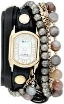 La Mer Women's LMMULTI2040 Black Positano Italian Stones Analog Display Quartz Black Watch