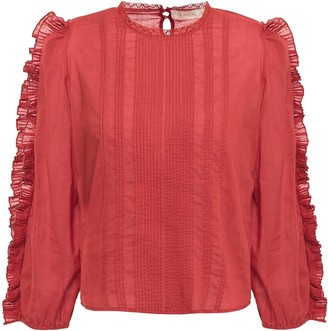 Vanessa Bruno Linea Ruffle-trimmed Pintucked Cotton-mousseline Blouse
