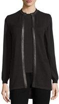Rani Arabella Leather-Trimmed Cashmere Vest, Black