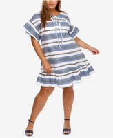 Lucky Brand Trendy Plus Size Cotton Lace-Up Shift Dress