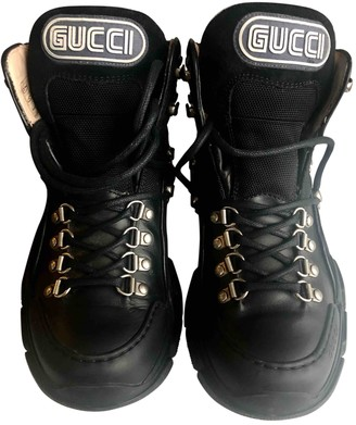 Gucci FlashTrek HighTop Black Leather Trainers