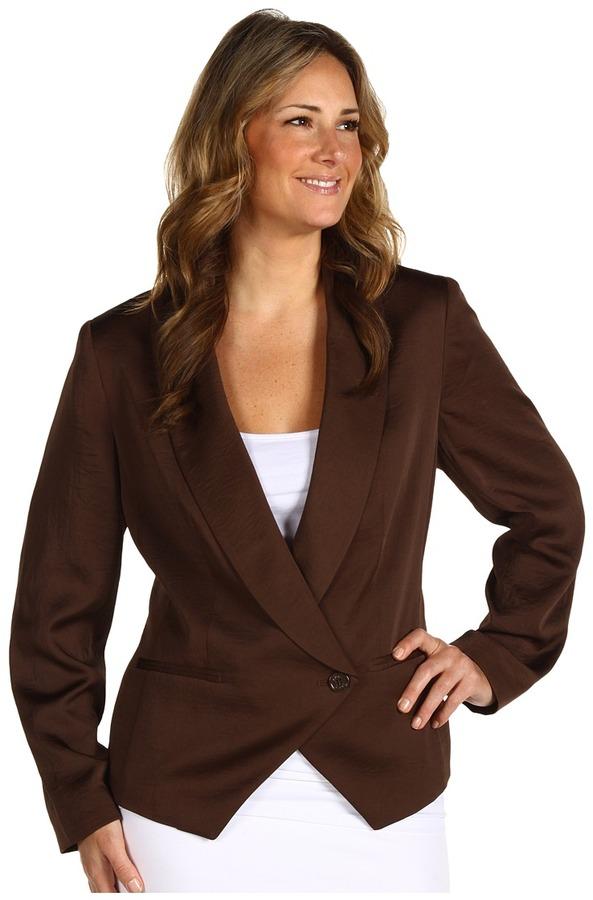 Klein Plus Anne Plus Size Soft 1 Button Blazer (Canela) - Apparel