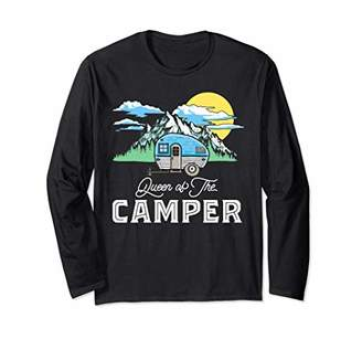 Camper Queen of the Retro RV Camping Funny Graphic Long Sleeve T-Shirt