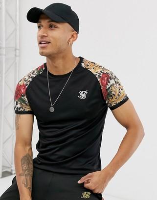 SikSilk x Dani Alves muscle fit t-shirt in black with printed raglan sleeve