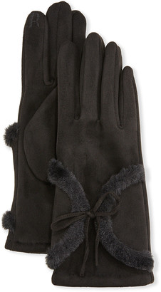Pia Rossini Kora Faux Suede Gloves with Faux Fur