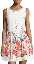 Romeo & Juliet Couture Sleeveless Floral-Print Fit-and-Flare Dress, Ivory Multi
