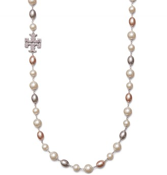 Tory Burch KIRA PAVE & PEARL LONG NECKLACE