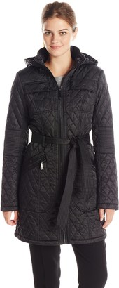 Vince Camuto Outerwear Women's Mid Length Quilted Jacket with Belt