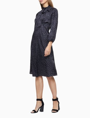 Calvin Klein Polka Dot 3/4 Sleeve Tie Neck Dress