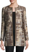 Lafayette 148 New York Pria Printed Open-Front Jacket, Chestnut