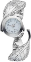 Studio Time Women's Crystal Accent Textured Leaf Cuff Watch