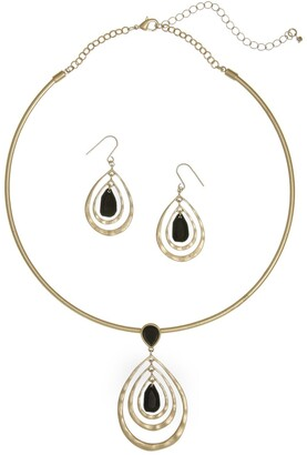 The Sak Hammered Teardrop Jet Coil Necklace & Drop Earrings Set