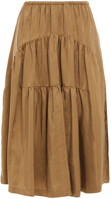 Vince Gathered Washed-silk Skirt