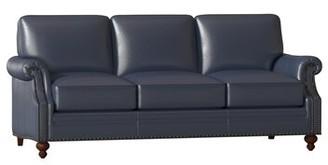 "Bradington-Young West Genuine Leather 82"" Rolled Arm Sofa Body Fabric: Outsider Atlantic, Leg Color: Espresso, Nailhead Detail: Antique, Cushion Fill:"