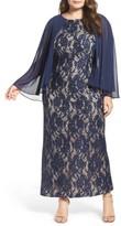 Alex Evenings Plus Size Women's Capelet Lace Column Gown