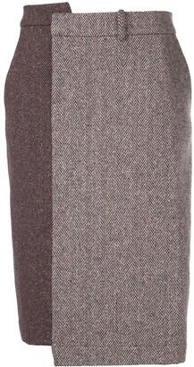 Monse Fitted Two-Tone Herringbone Skirt