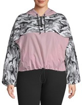No Boundaries Juniors' Plus Size Printed and Solid Popover Windbreaker Jacket
