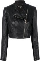 Twin-Set cropped biker jacket - women - Lamb Skin/Polyamide/Polyester/Elastolefin - 40