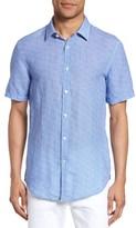BOSS Men's Ronn Extra Slim Fit Print Linen Sport Shirt