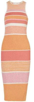 Victoria Victoria Beckham Victoria, Victoria Beckham Striped Ribbed-knit Midi Dress