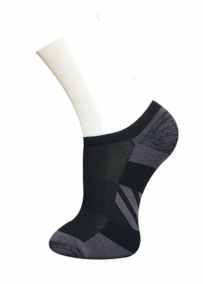 LAVIQUE 6 & 12 Pair Women Cotton Rich Sports Socks Low Cut Cushioned Running Socks Trainer Socks UK Size 4-6 (Black-Grey Heel & Toe 6)