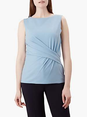 Hobbs Sian Gathered Top, Mist Blue