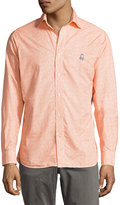 Psycho Bunny Floral-Print Cotton Sport Shirt, Orange