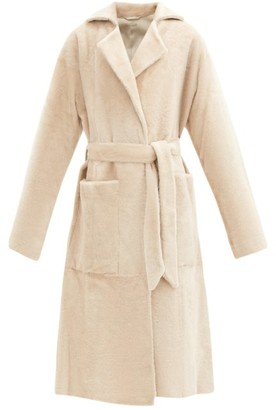 Dodo Bar Or Collie Shearling Wrap Coat - Cream