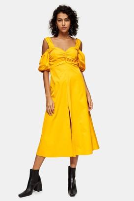 Topshop Womens Ochre Taffeta Bardot Midi Dress - Ochre