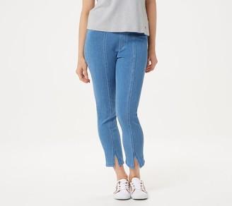 Isaac Mizrahi Live! Petite Knit Denim Front Slit Crop Jeans