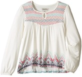 Lucky Brand Kids - Long Sleeve Peasant Top w/ Embroidery and Printed Bottom Girl's Long Sleeve Pullover