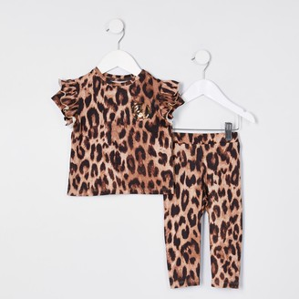 River Island Mini girls Brown leopard print top outfit