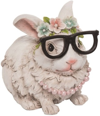 Transpac Resin 6 in. White Easter Hipster Bunny Figurine