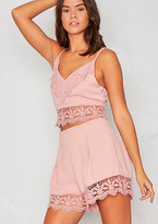 Missy Empire Tori Pink Crochet Bralet and Short Co-ord