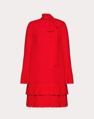 Valentino Georgette Dress With Ruffles Women Navy 46