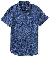 Armani Exchange Grid/Paisley Linen-Blend Short-Sleeve Point Collar Woven Shirt