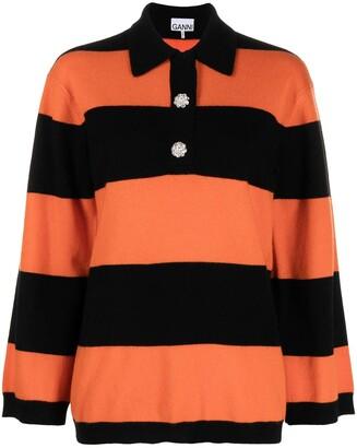 Ganni Horizontal-Stripe Knitted Polo Top