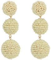 Kenneth Jay Lane 2 Ivory Seed Bead Wrapped Ball Post Earrings w/ Dome Top Earring