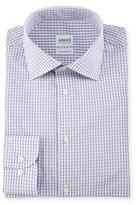 Armani Collezioni Modern Fit Box-Check Woven Dress Shirt, Purple