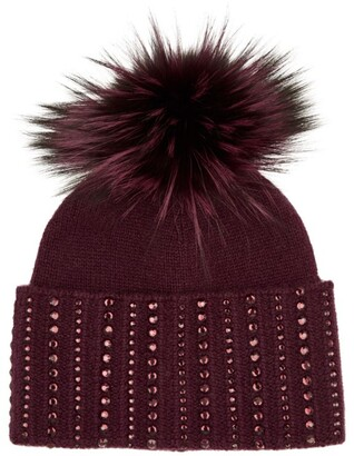 William Sharp Cashmere Crystal-Embellished Beanie Hat